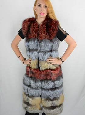 Red-Silver-Gold  Fur Vest