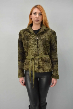 Green Swakara Fur Jacket